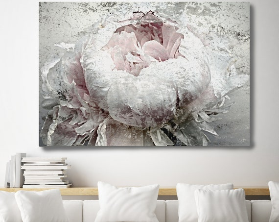 "French Passion Peony 2, Shabby Pink Gray Rustic Peony Painting, Shabby Chic Blush Peony Painting Canvas Art Print up to 72"" by Irena Orlov"
