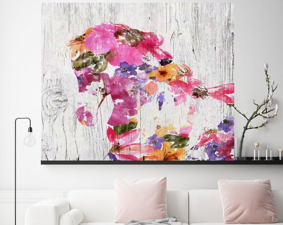 Bohemian Horse Painting BOHO Mixed Media Horse Painting Canvas Print BOHO Floral Horse Art Large Canvas, Painted Horse Boho Wall Art