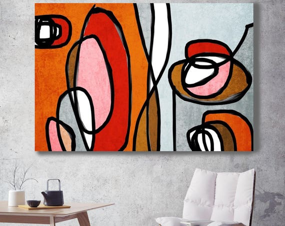 "Vibrant Colorful Abstract-0-48. Mid-Century Modern Red Orange Canvas Art Print, Mid Century Modern Canvas Art Print up to 72"" by Irena Orlov"