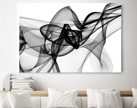 "Movement. 40H x 60W"", Original New Media Abstract Black White Painting on Canvas, Unique, Minimalist Large Abstract Painting, INVEST IN ART"