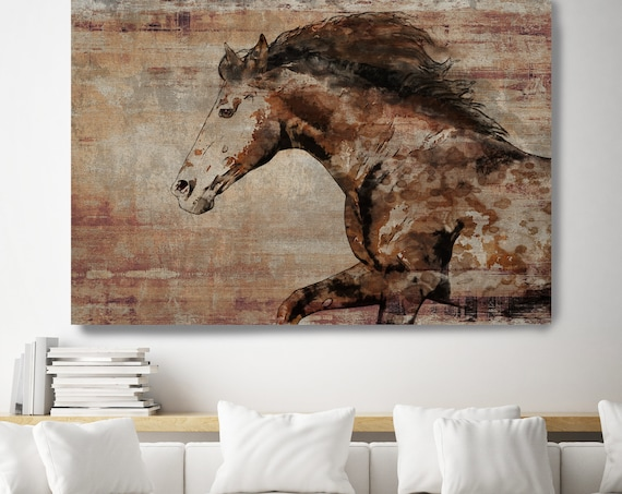 WILD HORSE RUNNING. Horse Art Large Canvas, Horse Art, Brown Rustic Horse, Rustic Vintage Horse Wall Art Print by Irena Orlov