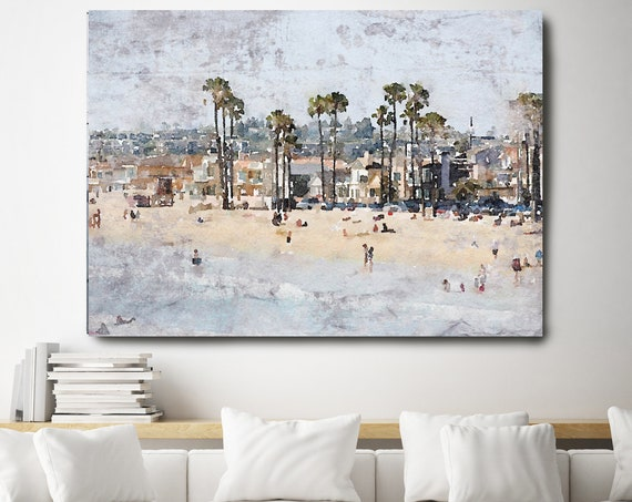 "Newport Beach, Beach Decor, Seascape, People on the Beach, Coastal Wall Canvas Art, Grey Beige & White, Sea Canvas Print 80"" by Irena Orlov"