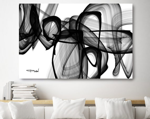 "I Exist. 40H x 60W"", Original New Media Abstract Black White Painting on Canvas, Unique, Large Abstract Painting, INVEST IN ART"