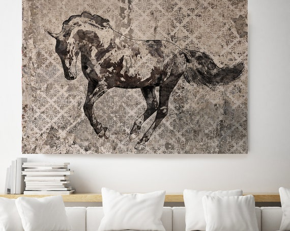 Paso Fino, Horse Painting Gray Horse Art, Horse Decor Painting,Horse Wall Art,Animal Art, Large Canvas Print Horse Art