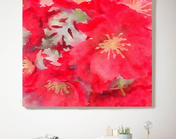 "ORL-10047 Red Flower, Red Watercolor Floral Painting, Red Floral Canvas Art Print, Abstract Floral Canvas Art Print up to 50"" by Irena Orlov"