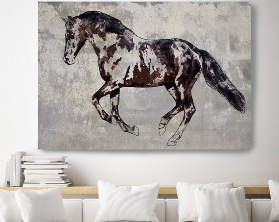 Trakehner Horse 2, Horse Painting Gray Horse Art, Horse Decor Painting,Horse Wall Art,Animal Art, Large Canvas Print Horse Art
