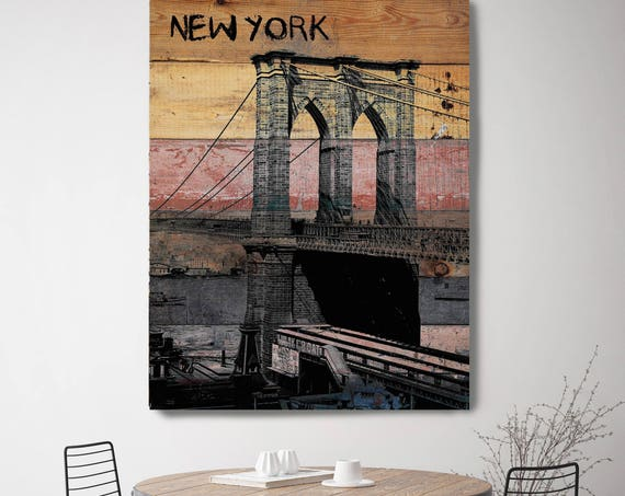 "Old Brooklyn Bridge. New York Extra Large Canvas Art Print up to 72"", New York Black Brown Rustic Canvas Art Print by Irena Orlov"