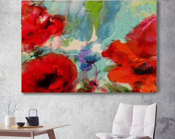 "The spring garden. Floral Painting, Red Blue Abstract Art, Large Abstract Colorful Contemporary Canvas Art Print up to 72"" by Irena Orlov"