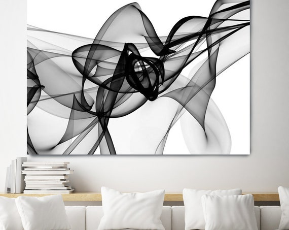 Black and White Wall art Abstract Canvas Print, Large  Painting, Minimalist Large Wall Art, Black White Wall Decor