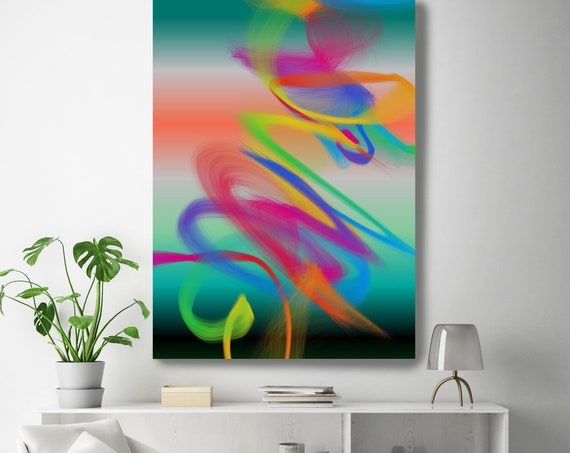 "Storm of Creation 61 Neon Colors New Media Art Orange Green Abstract Canvas Print Extra Large Abstract Canvas Print up to 90"" by Irena Orlov"