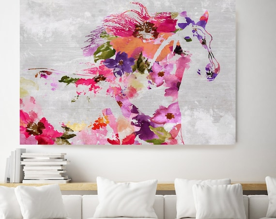 Floral Ranch Horse Painting BOHO Mixed Media Horse Painting Canvas Print BOHO Floral Horse Art Large Canvas, Painted Horse Boho Wall Art