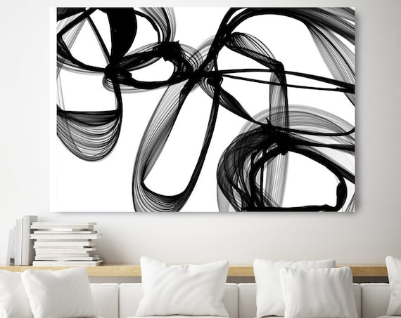 "Possession. 40H x 60W"" Original New Media Abstract Black White Painting on Canvas, Unique, Minimalist Large Abstract Painting, INVEST IN ART"