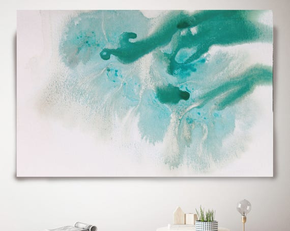 "Aqua Summer Dream. Contemporary Abstract Green Aqua Canvas Art Print up to 72"", Abstract Print in Turquoise and Aqua Blue by Irena Orlov"