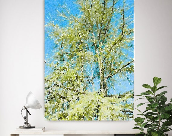 Spring Shine, Tree, landscape painting, green blue landscape art  landscape watercolor- Irena Orlov - Watercolor Canvas Art Print up to 72""