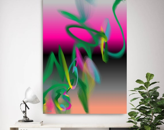 "Storm of Creation 12 Neon Colors New Media Art Pink Green Abstract Canvas Print, Extra Large Abstract Canvas Print up to 90"" by Irena Orlov"