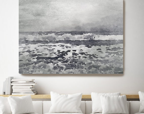 Wind waves. Seascape Painting, Ocean Painting, Ocean Coastal Seaside Canvas Art Print, Watercolor Ocean, Wall Art Coastal Irena Orlov