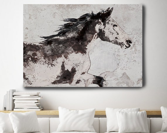 Horse Painting Brown White Minimalist Horse Wall Art, Abstract Horse Art, Horse Painting, Horse Race, Horse Canvas Print, Farmhouse Art