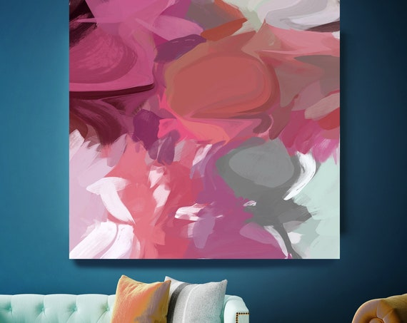 "Spirit Dance. Abstract Paintings Art, Wall Decor, Extra Large Abstract Pink Gray Contemporary Canvas Art Print up to 48"" by Irena Orlov"