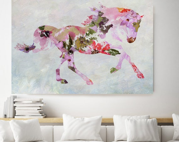 Horse painting BOHEMIAN Mixed Media Horse Painting Canvas Print BOHO Pink Floral Horse Art Large Canvas, Painted Horse Boho Wall ART