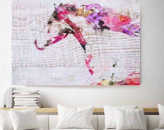 Running BOHO Horse. Floral Horse Art Large Canvas, BOHEMIAN PAINTING Multi Color Painted Horse Boho Wall Art, Floral Horse Canvas Print