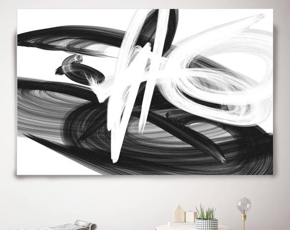 "Dances in the wind. Abstract Black and White, Unique Abstract Wall Decor, Large Contemporary Canvas Art Print up to 72"" by Irena Orlov"