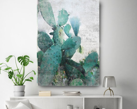"Rustic Cactus. Cactus Watercolor Wall Art, Pale Green Watercolor CANVAS Prints, Cactus Flower Artwork up to 72"" by Irena Orlov"