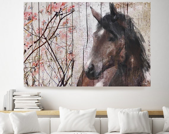 Brown Horse Le Muse and Blooming Pink Tree. Brown and Black Horse painting print art, animal, home decor, wall art, gift, Contemporary