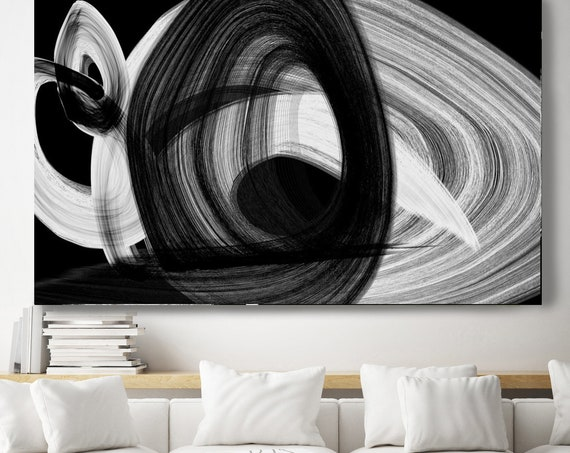 Black and White art, Black Abstract Art, Abstract Black and White Circle, Black and White Abstract Painting Minimalist Art Canvas Art Print