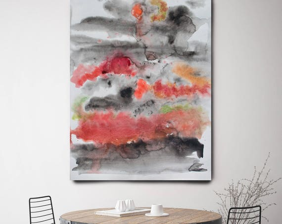"""After a Rainstorm, Watercolor Abstract,  Extra Large Abstract Red Black Contemporary Canvas Art Print up to 72"""" by Irena Orlov"""