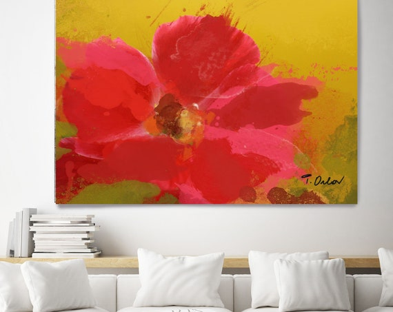 "Red  floral affection. Floral Painting, Red Abstract Art, Large Abstract Colorful Contemporary Canvas Art Print up to 72"" by Irena Orlov"