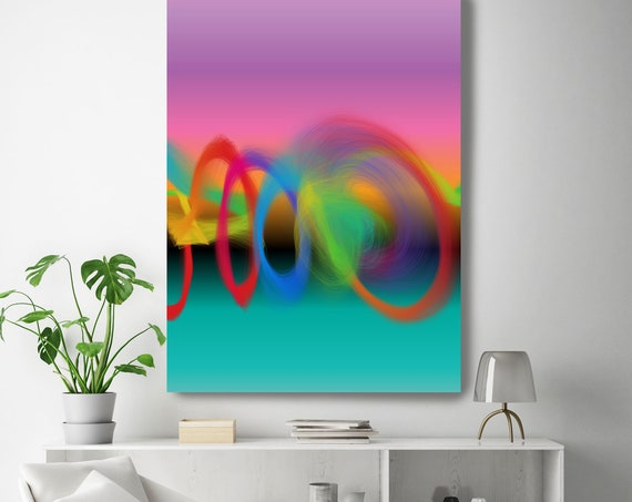 """Storm of Creation 55 Vivid Colors New Media Art Pink Turquoise Abstract Canvas Print, Extra Large Canvas Print up to 90"""" by Irena Orlov"""