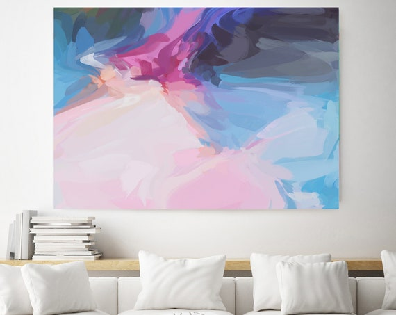 Romantic vibe, Blue Pink Abstract Painting, Large abstract painting Original abstract painting Canvas painting Large canvas art