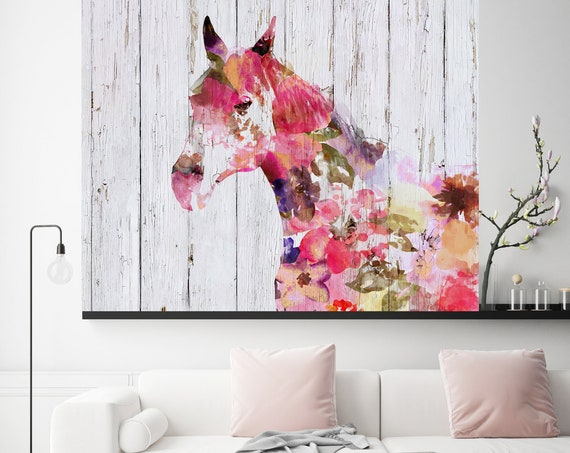 Fabulous Floral Horse Painting BOHO Mixed Media Horse Painting Canvas Print BOHO Floral Horse Art Large Canvas, Painted Horse Boho Wall Art