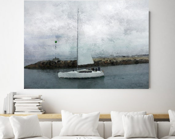 "Under the starry sky, Beach Decor, Coastal Wall Canvas Art, Blue Black & White, Sea Canvas Print 80"" by Irena Orlov"