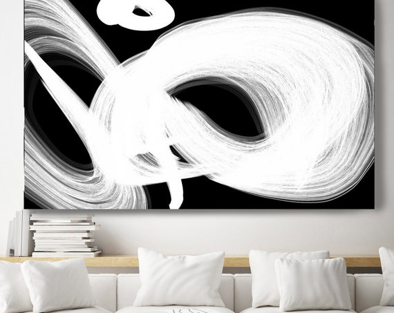 Black and White circles art, Black Abstract Art, Abstract Black and White, Minimalist Canvas Print Modern Home Decor, Black Abstract Art