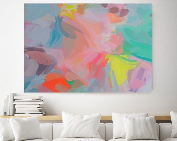 Femininity, Green Blue Pink Abstract Painting, Abstract Painting, Contemporary Art, Hand Painted extra large canvas print