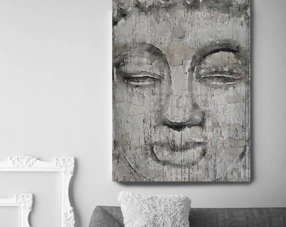 "Buddha, Inner Peace 2. Large Rustic Grey Buddha Canvas Art Print  up to 72"", Large Rustic Buddha Canvas Art by Irena Orlov"