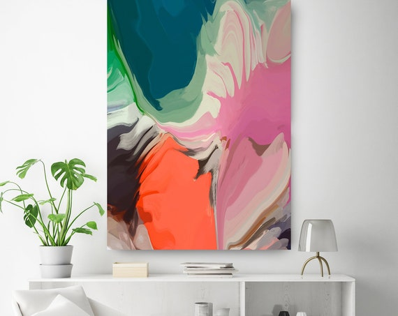 Agenda, Green Orange Large abstract painting Original abstract painting Canvas painting Large Canvas Print Original painting Large Wall Art
