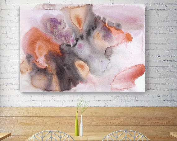 """Watercolor Symphony 9. Orange Pink Abstract Paintings Art, Extra Large  Pink Gray Contemporary Canvas Art Print up to 72"""" by Irena Orlov"""