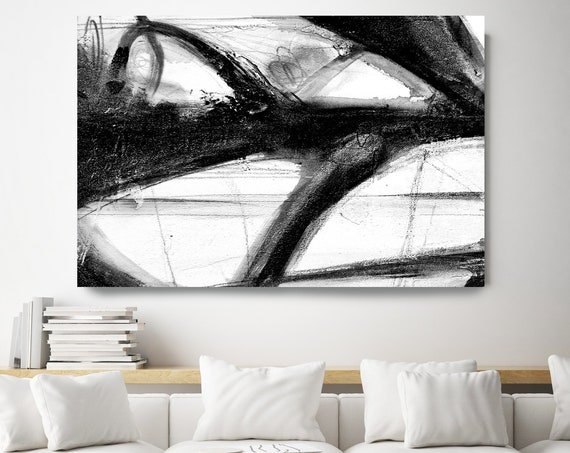 Large Modern Art Black White Abstract Painting Contemporary Art Canvas Print Art Wall Art Living Room Wall Art