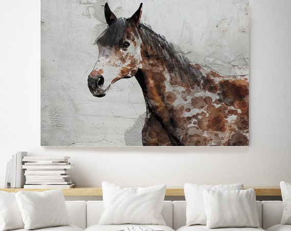 Chestnut Horse. Horse Art Large Canvas, Horse Art, Brown Rustic Horse, Rustic Vintage Horse, Horse Painting, Farmhouse Art, Rustic Painting