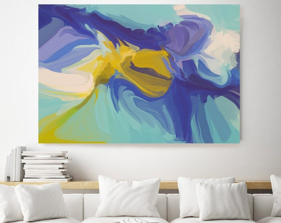 The visual language, Green Blue Yellow Abstract Painting, Abstract Painting, Contemporary Art, Hand Painted extra large canvas print