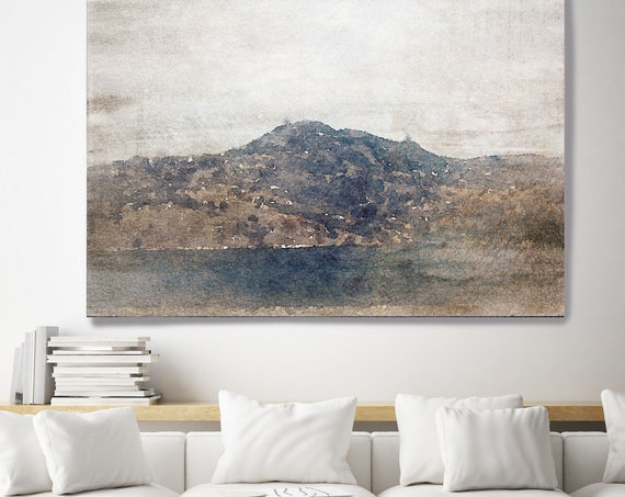 "Mountain foggy 2. Huge Rustic Landscape Painting Canvas Art Print, Large Purple Brown Blue Canvas Art Print up to 80"" by Irena Orlov"