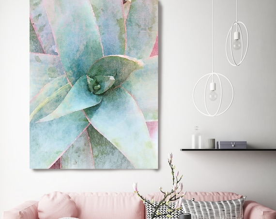 Garden Agave, Succulent Art Print, Watercolor, Succulent Painting, Agave Painting, Agave Watercolor Painting, Tropical Canvas Print