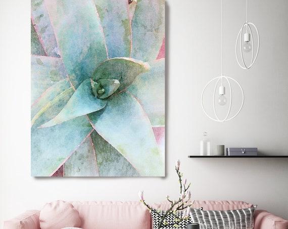 Garden Agave, Succulent Art Print, Watercolor, Succulent Painting, Agave Painting, Agave Watercolor Painting, Tropical Canvas Print