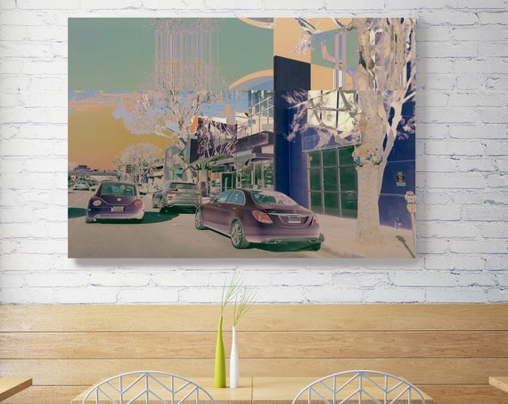 """Urban view, Sherman Oaks. Extra Large Architectural Canvas Art Print. Rustic Brown URBAN Canvas Art Print up to 72"""" by Irena Orlov"""