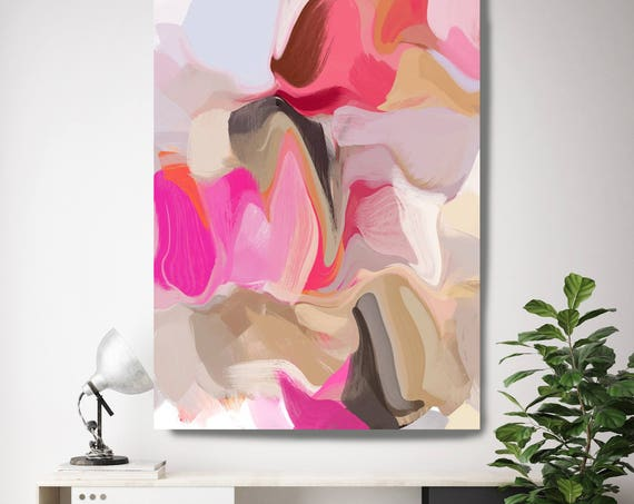 "Feeling the Love. Pink Beige Abstract Canvas Art Print, Extra Large Abstract Colorful Contemporary Canvas Art Print up to 72"" by Irena Orlov"