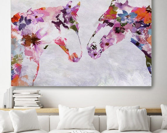 Two Loving Horses Bohemian Colorful Abstract Floral Horse BOHO Watercolor floral horse, farm animals, watercolor horse. Horse Canvas Print