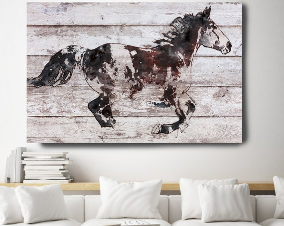 Horse Painting Brown White Minimalist Horse Wall Art, Running Arabian Horse, Horse Painting, Horse Race, Horse Canvas Print, Farmhouse Art