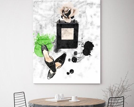 Fashion Wall Art, Fashion Wall Decor, Vanity Wall Art, Canvas Wall Art, Canvas Fashion Print Fashion Girl Print Chanel Wall Art Chanel Print
